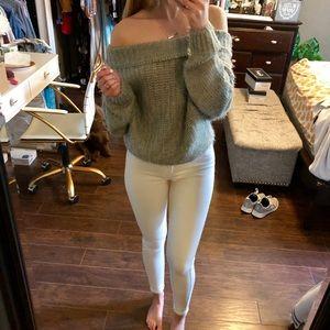 Vestique | Grey Off Shoulder Sweater